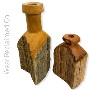 VINTAGE Rustic Wood Tapered Candle Holders